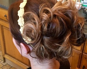 Look what I made using gilded lace a beautiful headband