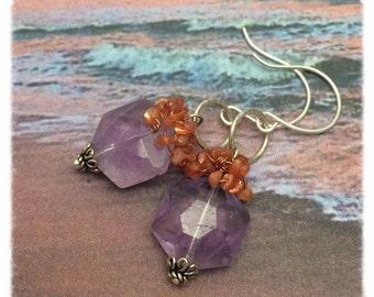 Oak Island Sunset Earrings, Genuine Amethyst and Sunstone Gemstone, Sterling Silver, Marta Weaver Jewelry