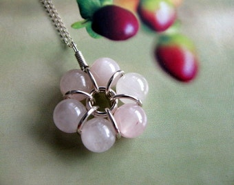 Flower Pendant, Sterling Silver Necklace, Round Beaded Gemstone Pendant