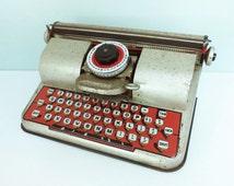 1940s Berwin Superior Toy Typewriter, Ellcraft Industries, Gold, Red and Black