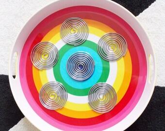 vintage 1960s Mod spiral Coasters / vintage Mid Century 1970s metal coasters/ 60s modernist barware