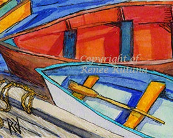 ACEO Original Watercolor & Ink Painting, Cape Cod Rowboats, Nautical Art