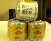 Knit Cro-Sheen Cotton Crochet Thread 3 Skeins 150 Yards Garland Ombre