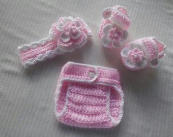 Baby Girl Infant Girl Crochet Headband Booties Adjustable Diaper Cover Baby Shower Gift Photo Prop Reborn Baby 10002 MADE TO ORDER