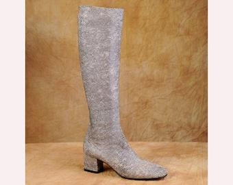 Golo Mod Boots -Stretch Knee High Snake Print- NOS - 60s Go Go - sz 7 M