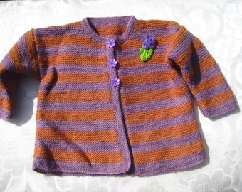 Handknitted little girl's pure wool cardigan, 2-4 years