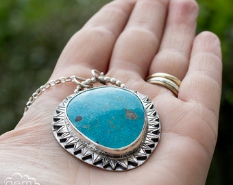 Sterling silver and Tonopah turquoise statement Long Necklace - Deep Blue -