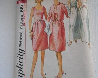 Vintage 60s Evening Dress Pattern Simplicity 6174 Size 11 Bust 31 1/2