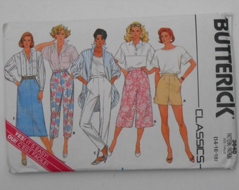 Shorts Pants Skirt and Culottes Pattern Butterick 3640 Size 14 16 18 Waist 28 30 32  UNCUT