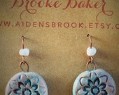 Hand Stamped and Painted Clay Pendent Earrings Teal Clay Washed in White and Copper By Brooke Baker