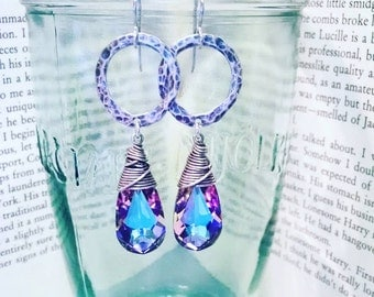 Hammered Sterling Silver Hoops with Swarovski Teardrops- Your choice of color