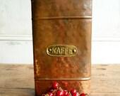 Vintage German Coffee Kaffee Holder Tin Jar Container Rustic Industrial Decor