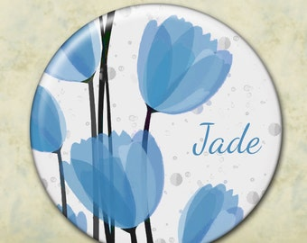 Personalized Bridesmaid Pocket Mirror, Wedding Favor, Shower Favor, Custom Favor, Bridal Party, Custom Party Favor, Tulips, Blue