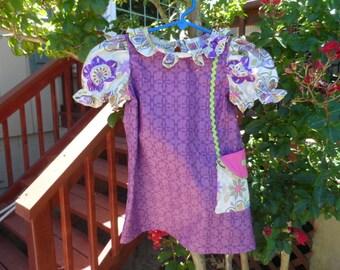 Let's Go Shopping Girl's Dress Pocket Boot Sizes 3-8 Handmade Matching Doll Dress Available.