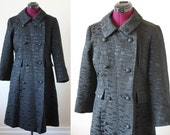 60s mod textured double breasted black coat