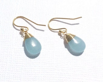 Gold Wire wrapped Aqua Jade Pear Shaped Earings SALE WAS 18.96 now 15.00