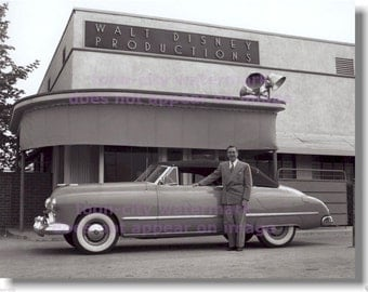 Walt Disney 8x10 inch photograph in front of his newly built studio Clear image of Walt's famous convertible