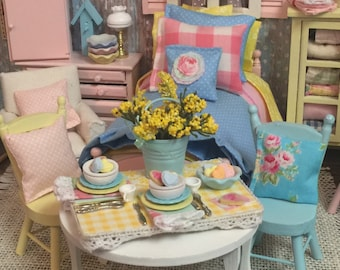 Spring Aqua & Yellow Heart Cookie Dessert Board-1:12 scale dollhouse miniature