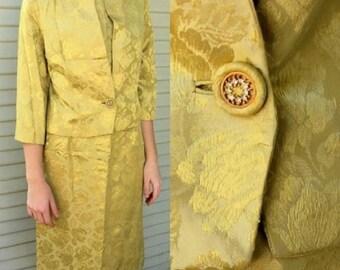 HIGH-END Vintage! 60s Mod Satin gold brocade Suit/Dress/Jacket -- M