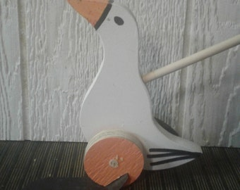White Goose Wooden Push/Flapper Toy