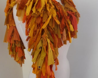 recycled silk  boho chic little tattered boa scarf  tumeric and tangerine   by plumfish