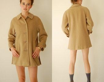 I Magnin Wool Jacket Vintage 60s Camel Brown I MAGNIN Preppy Mod Wool Coat (m l)