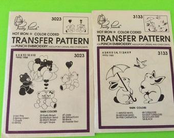 Vintage 1990 Pretty Punch Hot Iron Transfer Patterns Teddybears & Bunnies