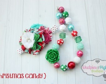 chunky necklace or baby headband set { Christmas Candy } aqua red, pink, white Candy Cane Santa, Christmas, Holiday photography prop