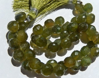 Vessonite Gemstone. Semi Precious Gemstone. Green Faceted Onion Briolettes, 8mm.  Pairs or Non Matching 1 to 5 Briolrttes (fves1)