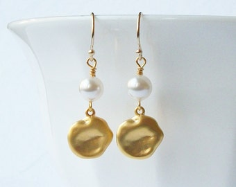 Pearl and Gold Coin Dangle Earrings, Pearl Dangle Drop Earrings