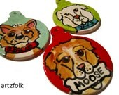 Custom dog or cat handmade pottery ornament from a photo of your pet
