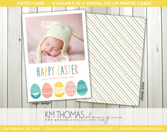 Easter Egg Printable Easter Photo Card : Personalized Photo Easter Card - Colorful Easter Eggs - Easter Holiday Card - Item EA102