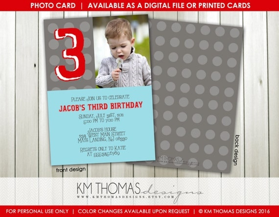 Personalized Polka Dot Photo Birthday Invitation 3rd