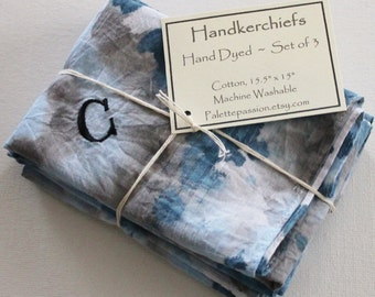 Hand Dyed Handkerchiefs - Mens Cotton Hankies - Set of 3 - Monogram C Denim Light Blue Navy Gray Grey Tie Dye Handkerchief Pocket Square