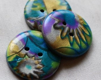 Large Gold, Silver Blue and Purple, 1 1/4 inch Button No. 19