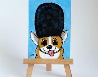 Original ACEO Derpy Corgi Dog with Bearskin Hat | London Guard Corgi | Cute Whimsical Art Illustration