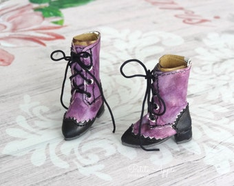 Gothic Purple - Lace up Boots for Blythe dolls OOAK Victorian Goth style