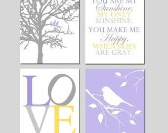 Lavender Nursery Wall Art Quad - Purple Yellow Gray Nursery Decor - You Are My Sunshine, LOVE, Birds in a Tree, Bird on a Branch - Set of 4