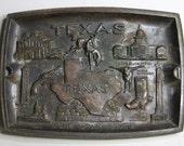Vintage TEXAS Dish- Metal Plate- Lone Star State- Alamo- Embossed Ashtray- Souvenir Dish