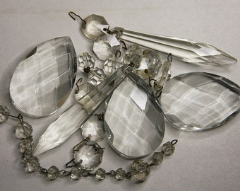 Vintage CHANDELIER CRYSTALS for Jewelry-Artwork or Lamp Repair- Sun Catcher Glass