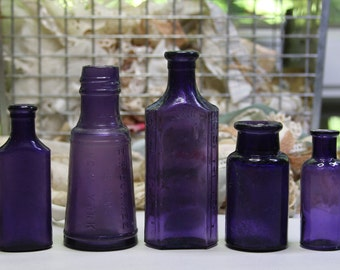 PURPLE BOTTLES- Amythest Glass- Antique Lot of Small Bottles-Instant Collection- B09
