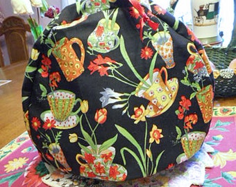 Cozy TEA CUPS Teapot COSY Vibrant Colors Black Cotton, Dainty China Cups, Tulip Daffodil Sweet Pea Daisy Freesias Flannel Lined 9 x 12 Gift