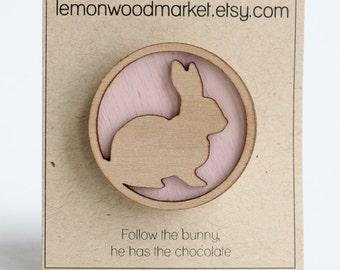 Easter bunny hair clip - pink wood bunny hair clip