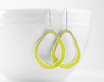 Wobble Earrings in sterling silver and chartreuse hand colored resin yellow green bright fun