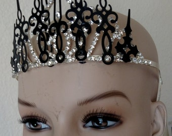 Steampunk Crown, Queen of Time, Clockwork Princess, Hat Embellishment, Goth, Fairy, Beauty Queen
