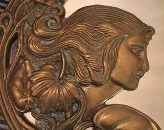 Antique French Art Nouveau Mirror