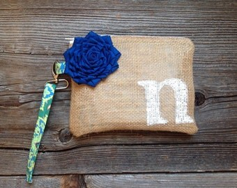 Personalized Bag, Floral Wedding Clutch, Monogram Purse, Personalized Bridesmaid Purse, Initial Purse, Personalized Wedding Bag, Burlap Bag