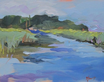 Salt Marsh South Carolina -- Summer--southern landscape - small oil painting-abstract realism - original