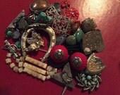 Repurpose Brown Tribal Exotic Nature Southwest Beaded Salvage Necklace lot destash harvest