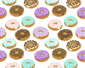 Donuts Fabric - Donuts Purple Lavender Green Chocolate Food Print Fabric By Charlotte Winter - Cotton Fabric By The Yard with Spoonflower